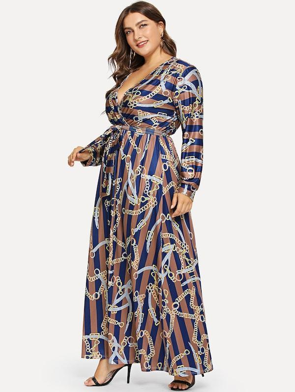 Plus Size Chain Print V-Neck Dress