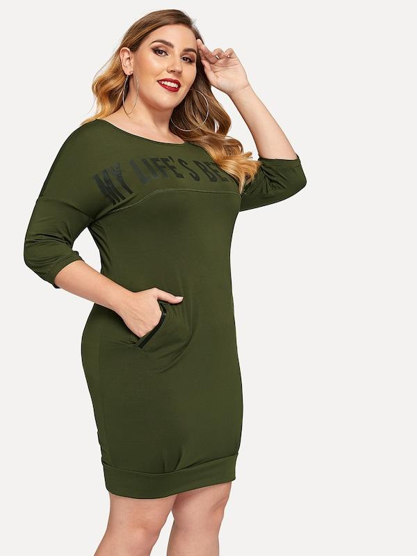 Plus Size My life's Better Letter Print Dress