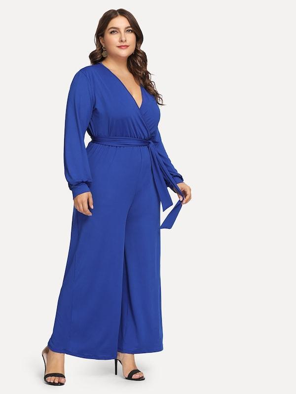 Plus Size Surplice Front Self-Tie Waist Jumpsuit