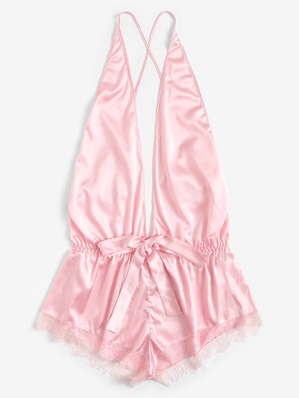 Plus Size Backless Satin Romper Bodysuit