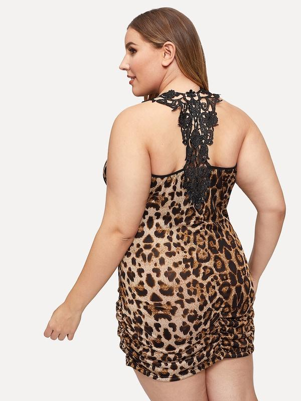 Plus Size Leopard Print Crochet Trim Night Dress