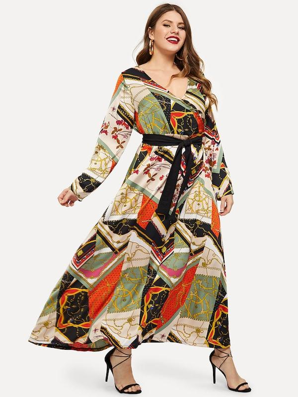 Plus Size Belt Tie Chain Print V-Neck Dress