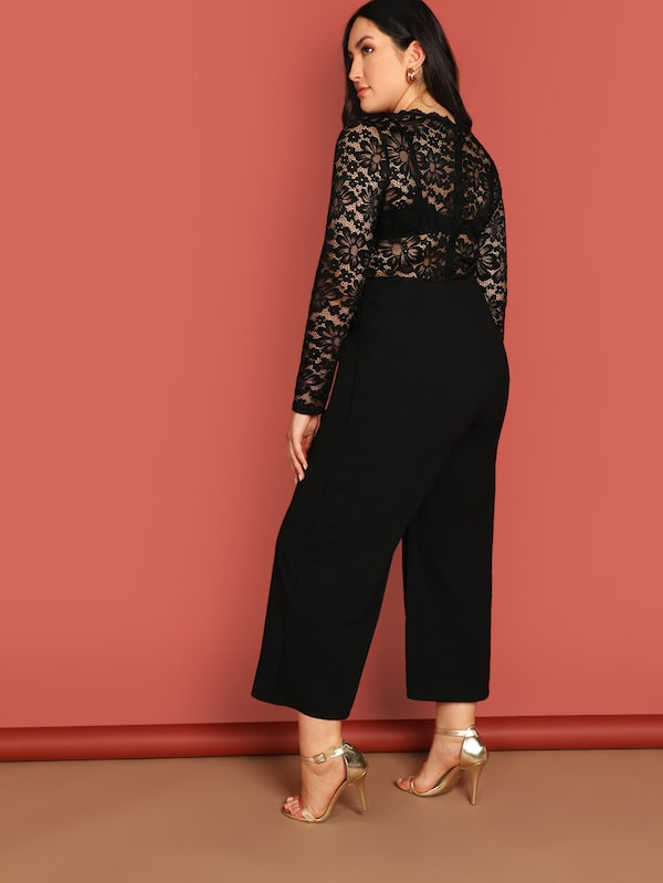 Plus Size Floral Lace Bodice Wide Leg Jumpsuit Without Bra