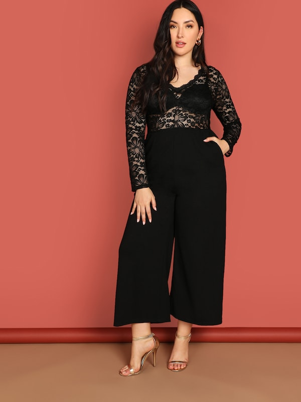 Plus Size Floral Lace Bodice Wide Leg Jumpsuit Without Bra 247851e46