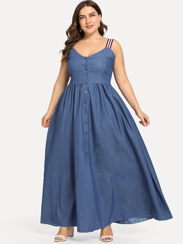 Plus Size Denim Button Flare Dress