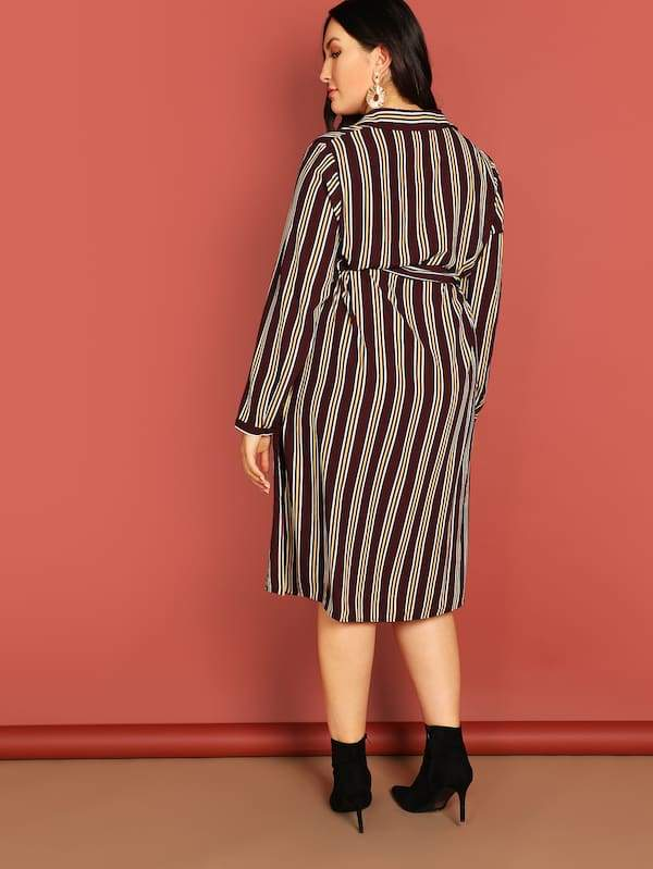Plus Size Pocket Front Striped Shirt Dress With Belt
