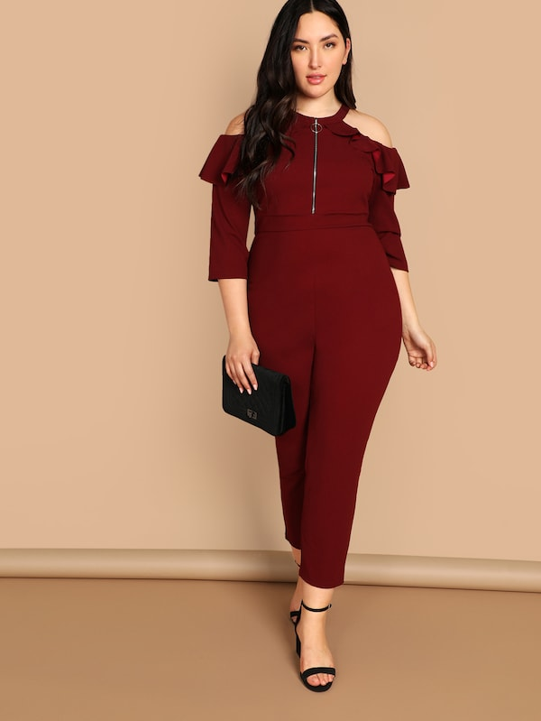 Plus Size Pull-Ring Cold Shoulder Ruffle Jumpsuit
