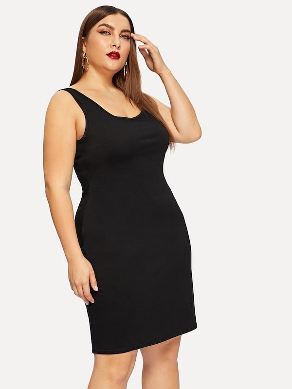 Plus Size Solid Tank Dress