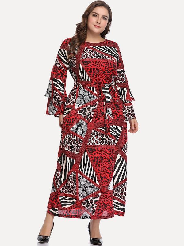 Plus Size Contrast Leopard Print Flounce Sleeve Dress