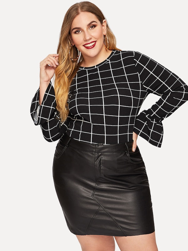 Plus Size Bell Sleeve Grid Top