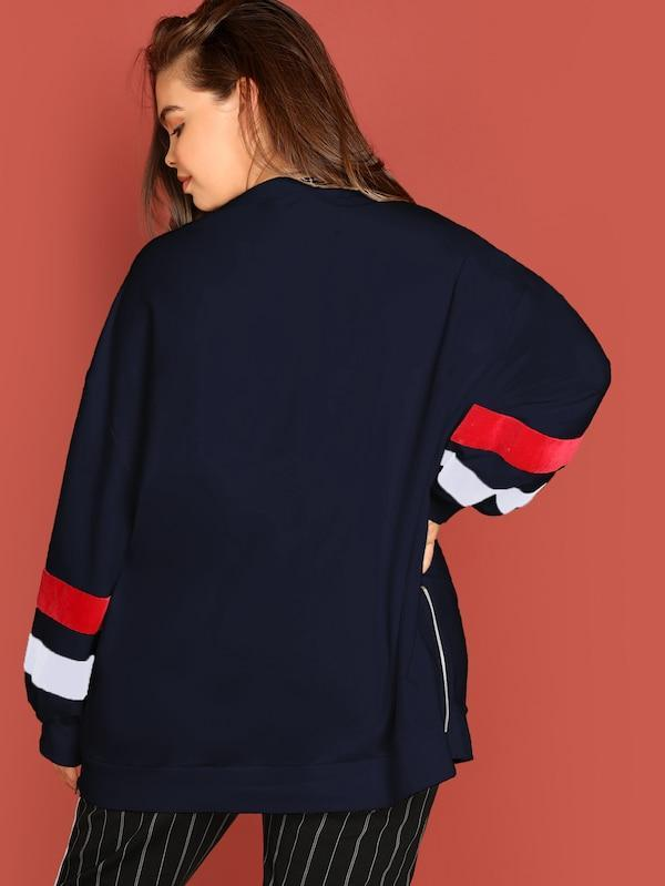 Plus Size Color Block Letter Print Pullover