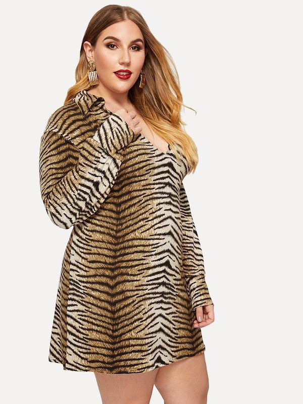 Plus Size V-Neck Tiger Print Dress
