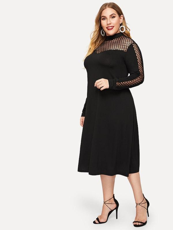 Plus Size Fishnet Panel Stand Neck Dress
