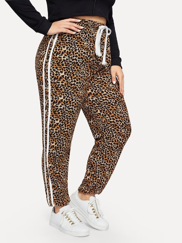 Plus Size Contrast Taped Side Leopard Print Pants