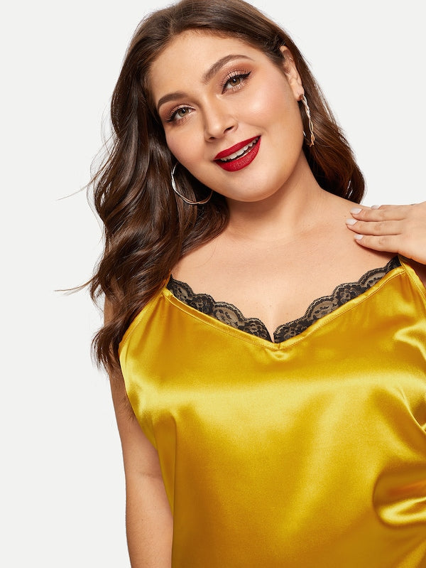 Plus Size Contrast Lace Cami Top