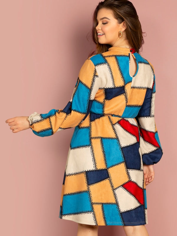Plus Size Elastic Cuff Color Block Dress