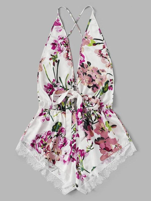 Plus Size Lace Trim Criss Cross Backless Floral Romper Bodysuit