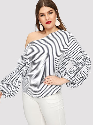 Plus Size Asymmetric Shoulder Gathered Sleeve Pinstripe Top