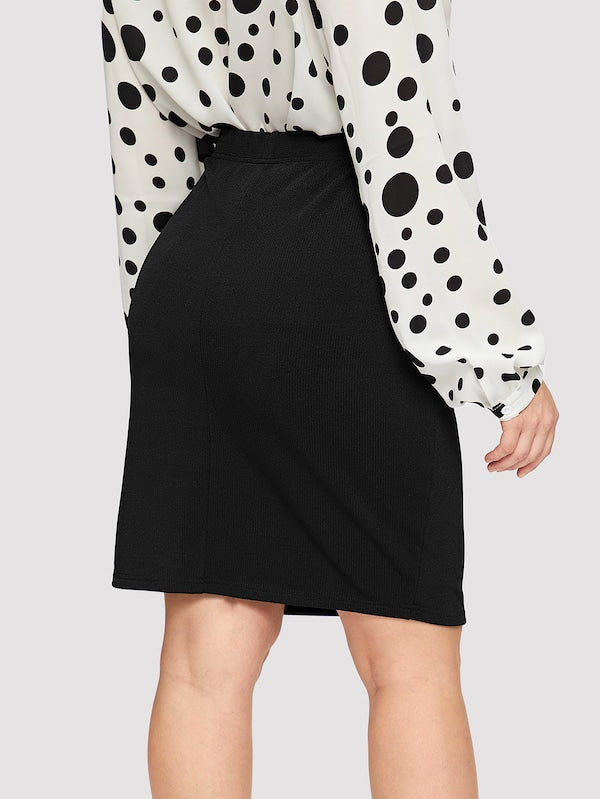 Plus Size Slim Fitted Solid Skirt