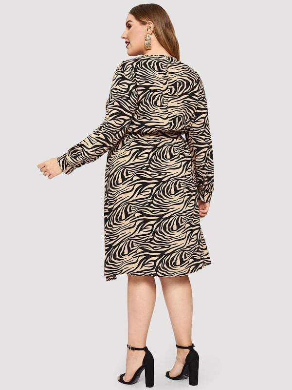 Plus Size Zebra Print Fit & Flare Dress