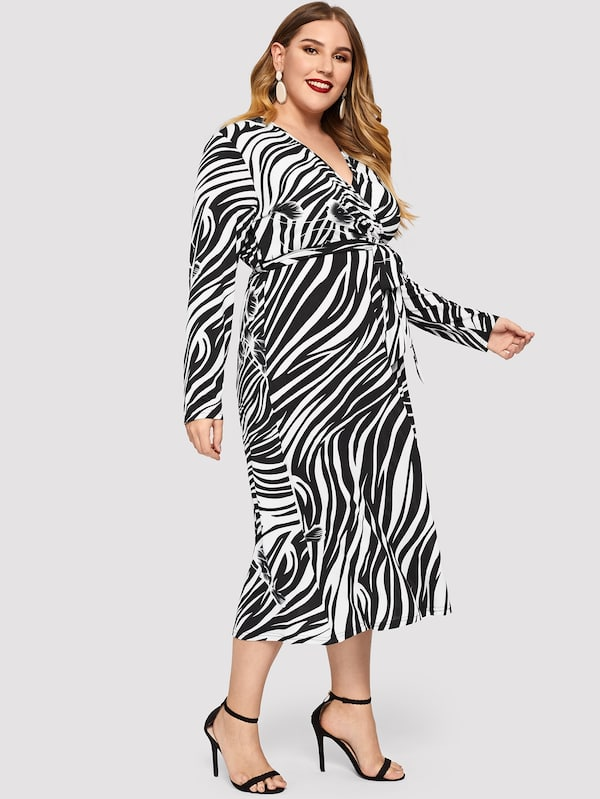 Plus Size Tie Waist Surplice Wrap Zebra Dress
