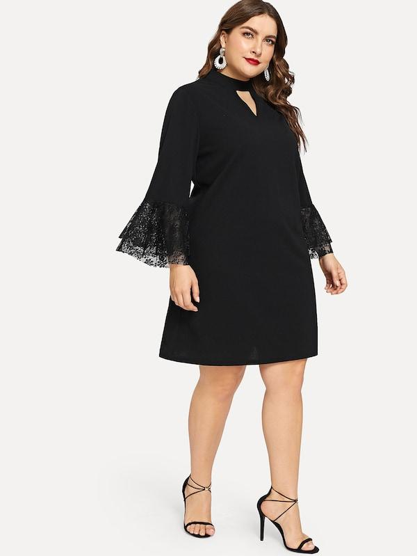 Plus Size Contrast Lace Bell Sleeve Solid Dress