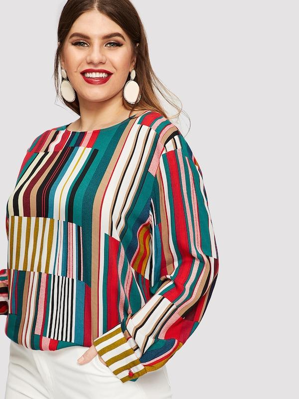 Plus Size Striped Curved Hem Blouse