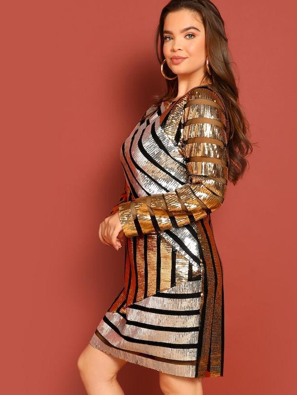 Plus Size Mixed Stripe Sequin Dress