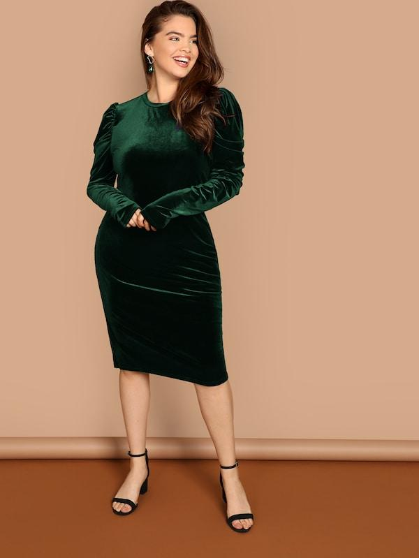 Plus Size Puff Sleeve Fitted Velvet Dress