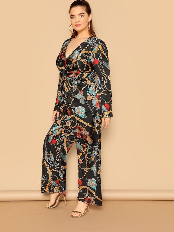 Plus Size Chain Print Twist Detail Jumpsuit