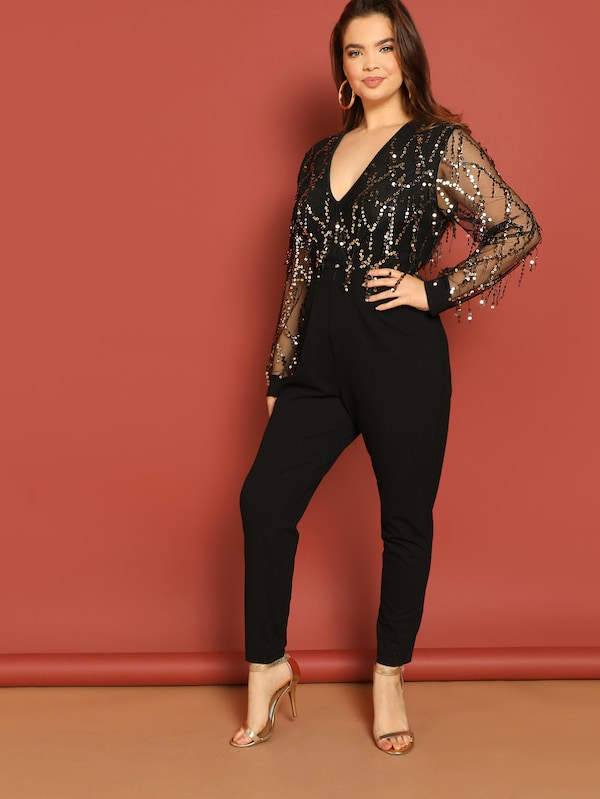 Plus Size Mesh Insert Sequin Patched Jumpsuit