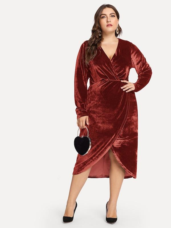Plus Size Plunge Neck Wrap Velvet Dress