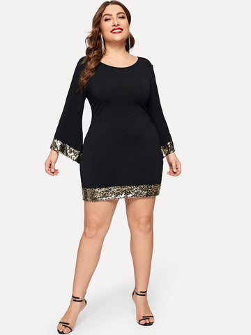 Plus Size Contrast Sequin Dress