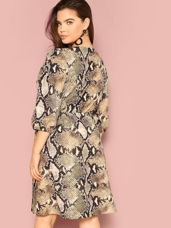 Plus Size Button Front Snake Pattern Shirt Dress