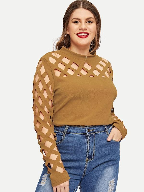 Plus Size Mock-Neck Geo Cutout Yoke Top