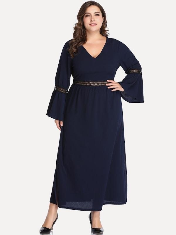 Plus Size Flounce Sleeve V-Neck Dress