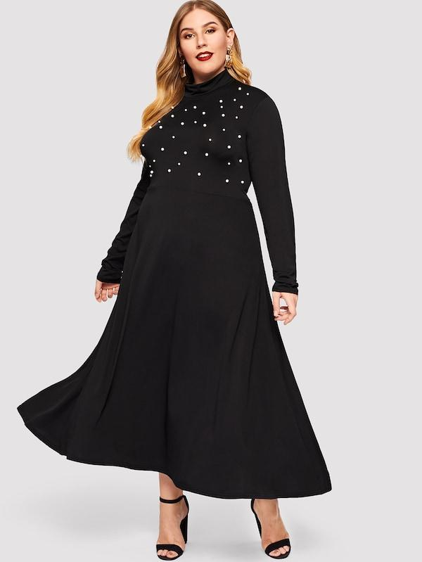 Plus Size Beaded Mock Collar Dress