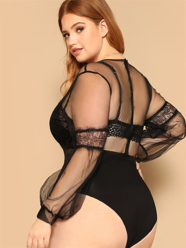Plus Size Lace Insert Mixed Media Sheer Bodysuit