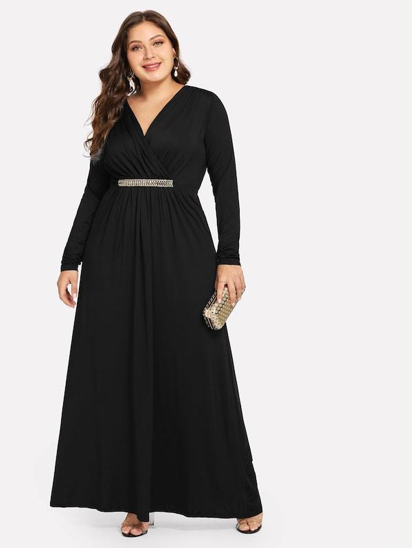 Plus Size Plicated V-Neck Dress