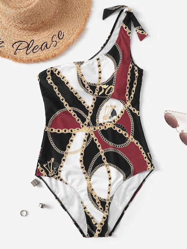 Plus Size Chain Print One Shoulder One Piece Swimsuit