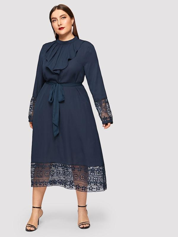 Plus Size Contrast Lace Belted Ruffle Trim Dress