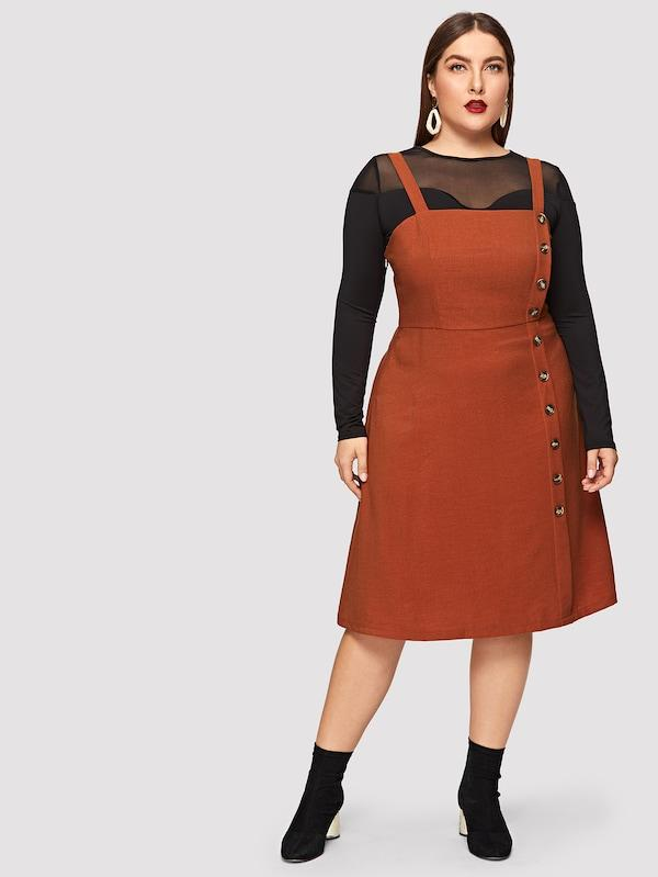 Plus Size Button Front Pinafore Dress