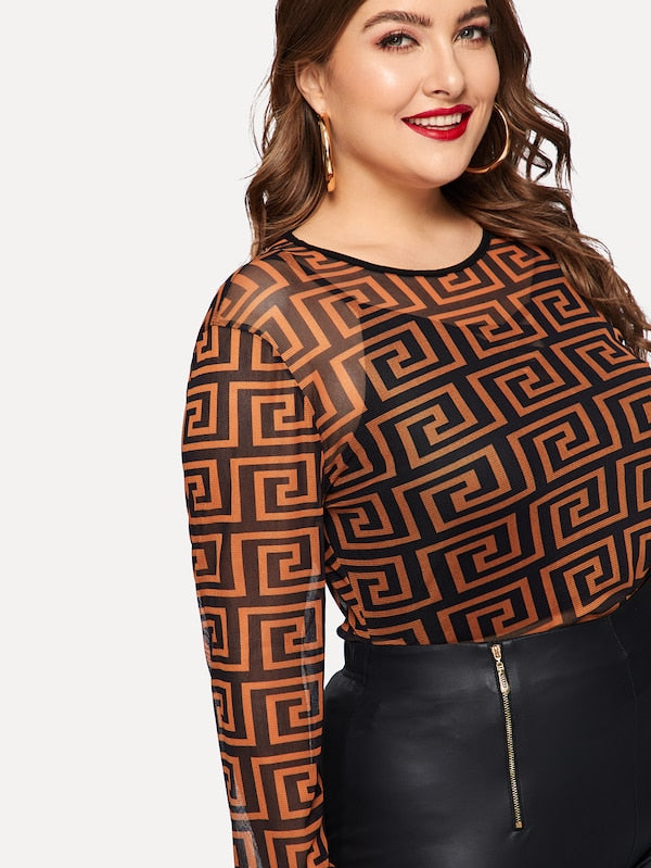 Plus Size Greek Fret Mesh Top Without Cami