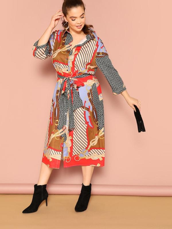 Plus Size Mixed Print Belted Shirt Dress