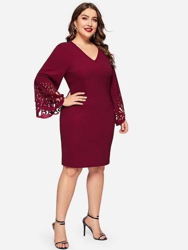 V-Neck Laser Cut Bell Sleeve Pencil Dress
