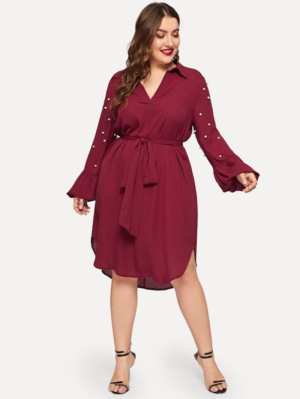 Plus Size V-Cut Neck Pearl Detail Dip Hem Belted Dress