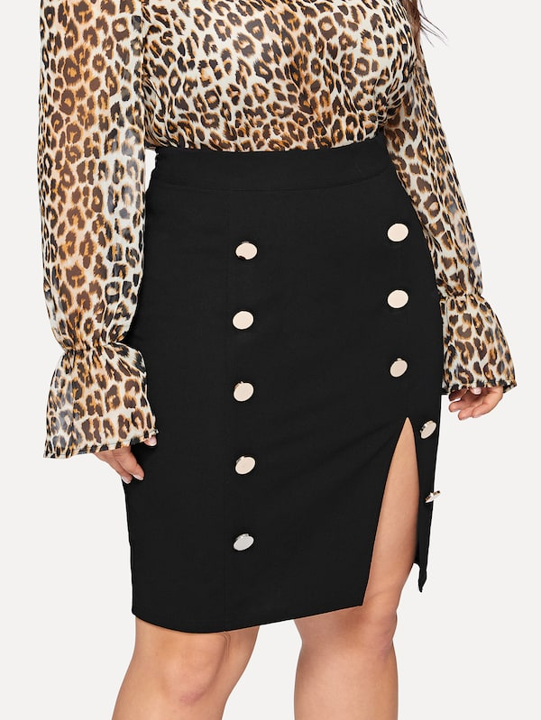 Plus Size Double Buttoned Slit Front Skirt