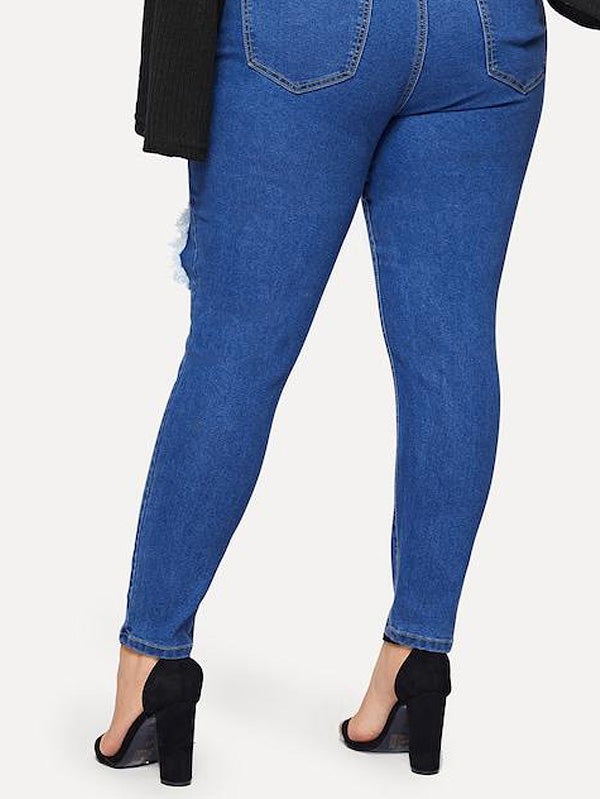 Plus Size Ripped Detail Skinny Jeans
