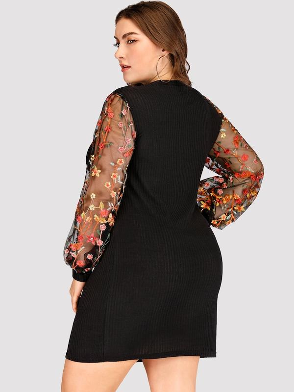 Plus Size Contrast Mesh Floral Embroidery Dress