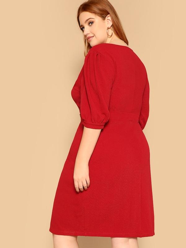 Plus Size Wrap Double Breasted Puff Sleeve Split Dress